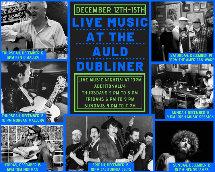 Come see live music at Auld Dubliner throughout December!