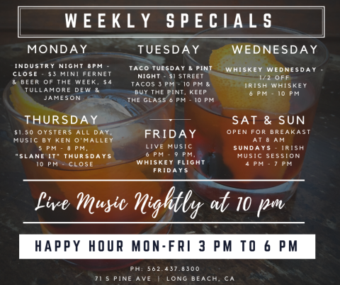 The Auld Dubliner Happy Hour Menu is Monday thru Friday from 3pm to 6pm.