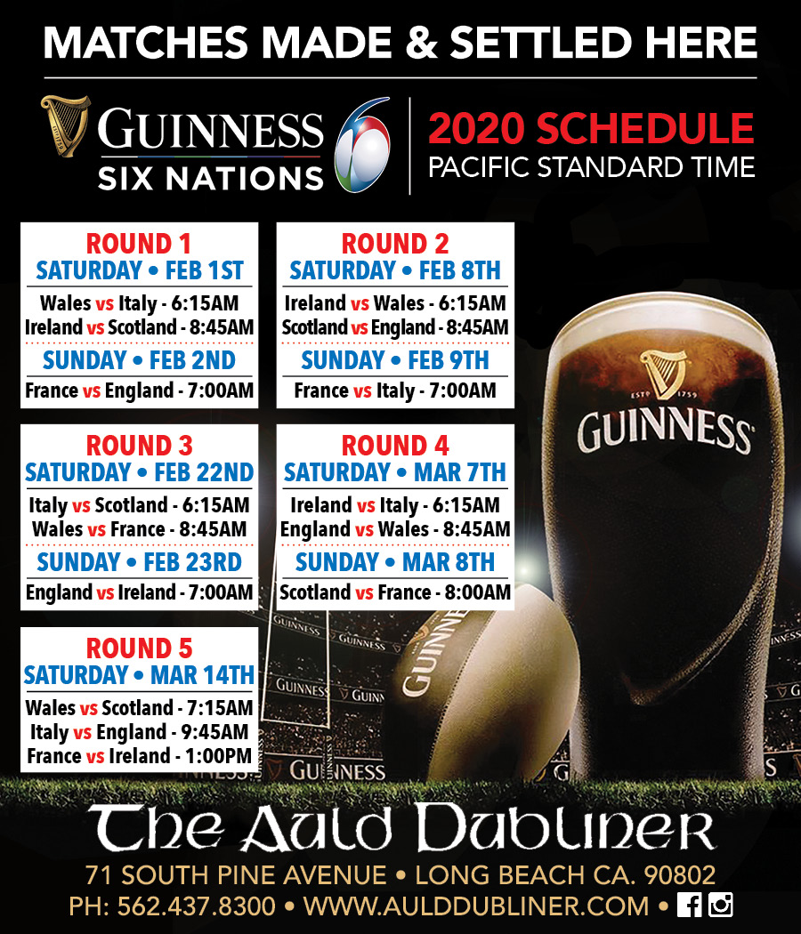 6 Nations Rugby Tournament Schedule
